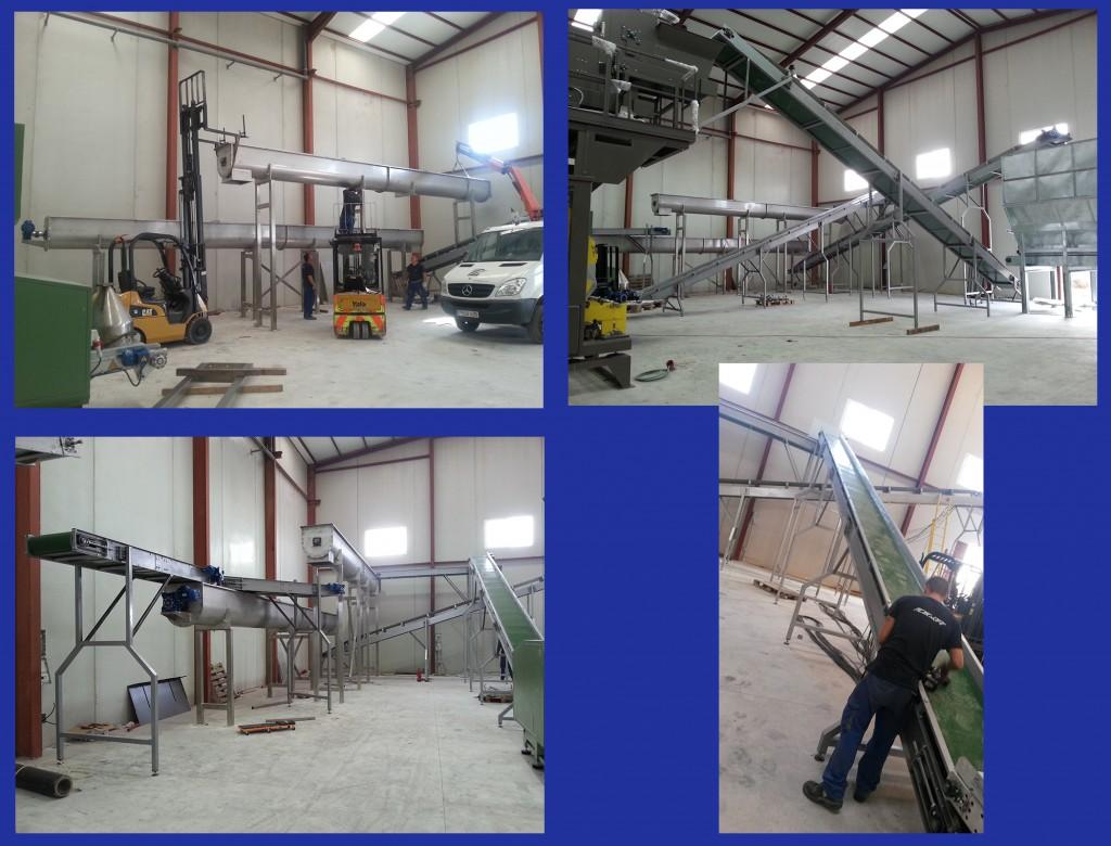 montaje de cintas transportadoras y silos que forman la planta.